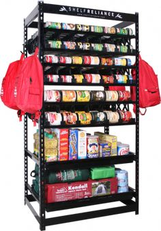 shelf reliance shelves food rotation system canned soup can storage rack 26031