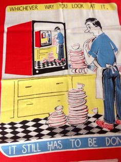 """Vintage 1960's Rare Irish Linen Comedy Tea Towel Featuring Man And Washing Up """" Which Ever Way You Look It Still Has To Be Done ! """" 1960s by Onmykitchentable Vintage on Gourmly"""
