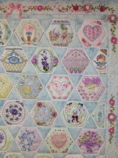 Top right of finished Hexie quilt by Kay Lea.