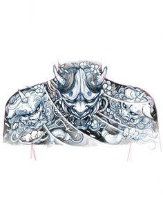 Upper back sketch chronicink asianink tattooirezumiasiantattoo sketch illustration drawing hannya foodog japanese tattoo tattoo japanese tattoo Oni Tattoo, Irezumi Tattoos, Raijin Tattoo, Samurai Tattoo, Geisha Tattoos, Japanese Mask Tattoo, Japanese Tattoo Designs, Japanese Sleeve Tattoos, Chest Tattoo Japanese