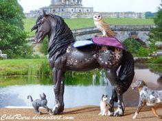 Baroque Saddlepad, made by Laurence Cassin. Model: Nil'Sén'Là, custom Brandu by Agnès Fichelle. Other: Breyer dog custom by Hauntedwood Corp. Studio, Schleich Cats & Papo Owl.