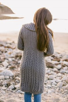 The Joan Cable Ribbed Coat Pattern for Hand Knitting