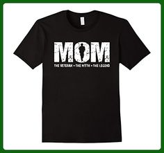 Mens MOM The Veteran The Myth T-shirt Best Gift For Mother's Day Medium Black - Holiday and seasonal shirts (*Amazon Partner-Link)