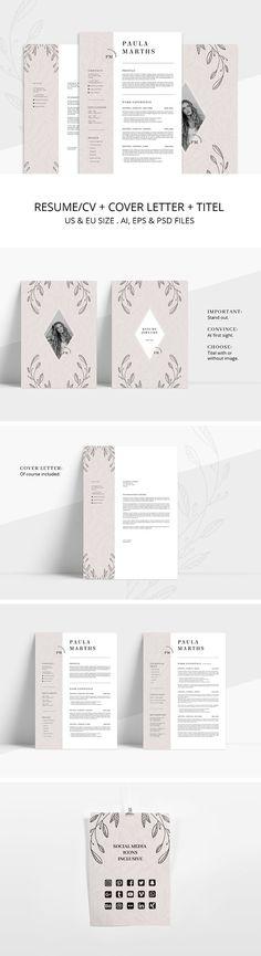 FLORAL Resume/CV + Cover Letter by AgataCreate on @creativemarket