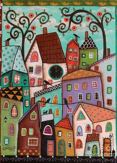 Afternoon Art Print by Karla Gerard. All prints are professionally printed, packaged, and shipped within 3 - 4 business days. Choose from multiple sizes and hundreds of frame and mat options.Karla Gerard - Artwork for Sale - Waterville, ME - United S Karla Gerard, Arte Popular, Naive Art, Whimsical Art, Doodle Art, Art Lessons, Home Art, Fine Art America, Art Drawings