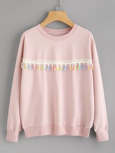 Material Polyester Color Pink Pattern Type Plain Neckline Round Neck Style Casual Cute Type Pullovers Sleeve Length Long Sleeve Fabric Fabric is very stretchy Season Spring Fall Shoulder Cm Bust Cm Sleeve Length Cm Length Cm Size Available one-size Girls Fashion Clothes, Teen Fashion, Korean Fashion, Fashion Outfits, Kawaii Clothes, Diy Clothes, Winter Outfits, Casual Outfits, Diy Vetement