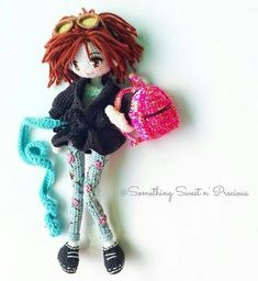 Amigurumi doll with lovely embroidered trousers. Amigurumi Patterns, Amigurumi Doll, Doll Patterns, Crochet Doll Clothes, Crochet Toys, Knit Crochet, Crochet Ball, Yarn Dolls, Knitted Dolls