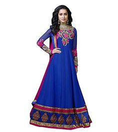 Admyrin Shraddha Kapoor Exclusive Royal Blue Georgette Anarkali Suit Design By Stone ...