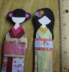 Paper Japanese Doll Book Mark...I have made one for my friend long time ago...easy and fun craft...share with you