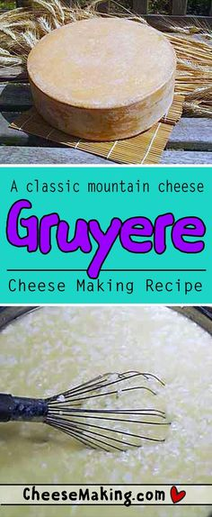 Gruyere - Learn how to make this classic 'mountain cheese' of France and Switzerland. With smaller or nonexistent holes it's easily differentiated from the larger Ementhaller cheese : Cheesemaking Fromage Vegan, Fromage Cheese, Gruyere Cheese, How To Make Cheese, Food To Make, Making Cheese, Cheese Recipes, Cooking Recipes, Cheese Dips