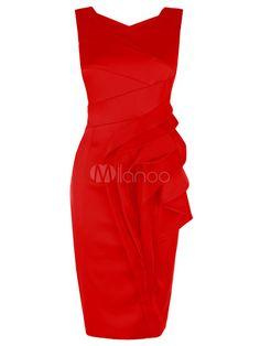 Red Cascading Ruffle Bodycon Dress For Women - Milanoo.com