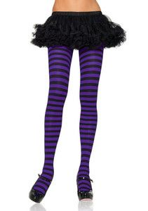 PLUS SIZE TALL 3X 4X BLACK PURPLE STRIPED TIGHTS COSTUME STOCKINGS ROLLER DERBY