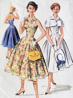 1950s LOVELY HALTER DRESS, CAPE PATTERN PERKY STAND UP WING COLLAR, FITTED BODICE, BEAUTIFUL FULL SKIRT McCALLS 3688