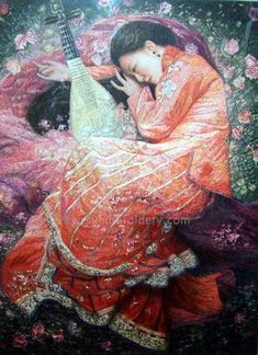 Chinese silk needle art, hand embroidery painting