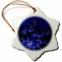 3dRose Fractal background in the different shades of dark blue., Snowflake Ornament, Porcelain, 3-inch