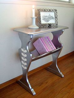 Silver Stenciled Library Shelf.