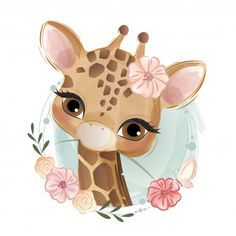 Cartoon giraffe with colorful balloons illustration Illustration Mignonne, Cute Illustration, Illustration Pictures, Baby Animal Drawings, Cute Drawings, Giraffe Cartoon Drawing, Baby Drawing, Baby Animals, Cute Animals