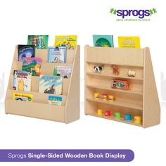 Put your best book forward with our Sprogs Single-Sided Wooden Book Display. Curate a selection of books, encourage reading and make your books visible and easily accessible. The back includes four hidden shelves for storing additional books or toys!