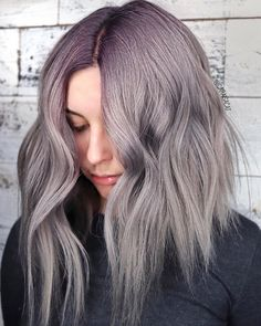Get the look: *Formula* via 👉 Base: + + Ends: + + Pastel Lavender Hair, Wavy Bobs, Get The Look, Style Me, France, Base, Long Hair Styles, Purple, Beauty