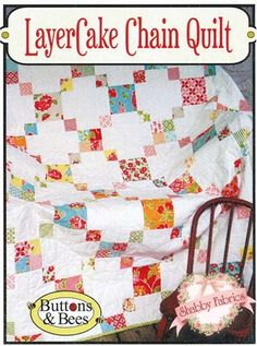 Layer Cake Chain Quilt: Create a simple pieced quilt with this great pattern! All you need is a Layer Cake, 3 yards of a contrasting background fabric, binding, and a backing. Quilt finishes to 62 Quilting Tutorials, Quilting Projects, Quilting Designs, Quilting Ideas, Layer Cake Quilt Patterns, Layer Cake Quilts, Layer Cakes, Cute Quilts, Scrappy Quilts