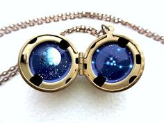 Taurus Locket - Personalized Gift - Hand-painted Miniature Astrological Sign in the Stars with Moon on Etsy, Sold