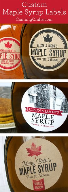 Custom maple syrup bottle & jar labels for home-based maple sugarers & maple sugaring enthusiasts Maple Syrup Taps, Maple Syrup Bottles, Homemade Maple Syrup, Maple Syrup Recipes, Green Mountain, Low Carb Low Fat, Maple Syrup Evaporator, Maple Leaf, Canning Jar Labels