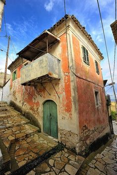 Corfu, Greece-old venetian House in hill village . The colours of the walls and the door are so typical of old Corfu Corfu Greece, Santorini Greece, Athens Greece, Travel Sights, Places To Travel, Places To Go, Corfu Island, Greek Isles, Cruise Destinations