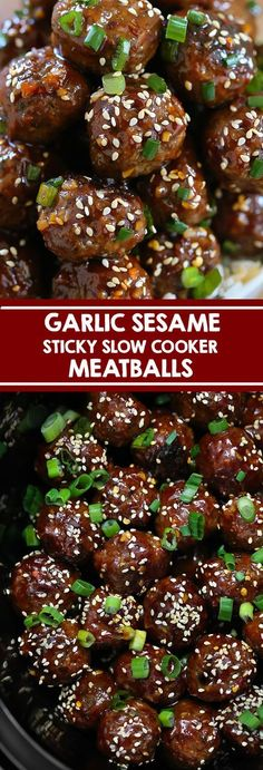 Slow Cooker Sticky Garlic Sesame Meatballs - Swanky Recipes Garlic Sesame Meatballs - Slow cooker beef meatballs with an Asian Garlic Sesame Sauce. Perfect served with rice or served as a party appetizer. Crockpot Meat, Slow Cooker Beef, Slow Cooker Recipes, Beef Recipes, Cooking Recipes, Sesame Recipes, Slow Cooker Appetizers, Fast Recipes, Gastronomia