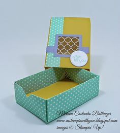 Miriam Castanho Bollinger, mstampinwithyou, stampin up, demonstrator, dsc, envelope punch board, squares collection, afternoon picnic dsp, quatrefancy specialty dsp, match box, su