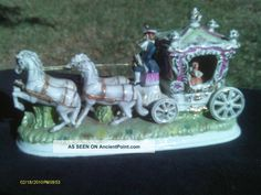 Magnificent Antique Capodimente Dresden Horse Carriage Figurine Figure