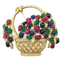 1980s Italian Ruby Sapphire Emerald Diamond Gold Flower Basket Brooch