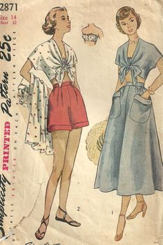 Vintage 40s Sewing Pattern simplicity 2871 by studioGpatterns