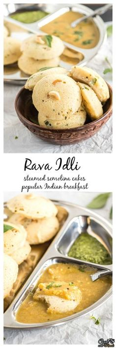Steamed semolina cakes are a popular Indian breakfast. Rava Idli is best enjoyed with sambar and chutney! Find the recipe on www.cookwithmanali.com