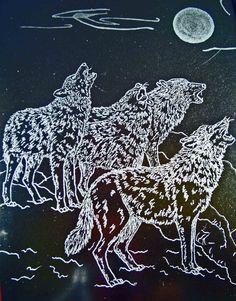 Wolves Hand Engraved Glass Dimensional Framed Art by SeventhChild, $85.00