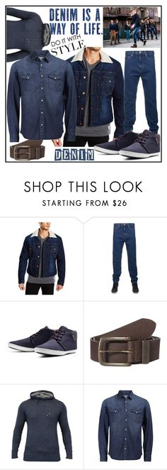 """""""Denim : Way of Style"""" by jeanscene ❤ liked on Polyvore featuring Wrangler, Jack & Jones, Ringspun, men's fashion, menswear, Boots, belt, jeans, shirt and jackets"""