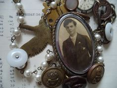 SOLD Recycled Vintage Treasures Necklace. Solider Boy Necklace. Grandad Memorial Necklace by Recycloanalyst on Etsy