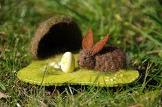 small felted rabbit and its playscape. Waldorf Crafts, Waldorf Toys, Wet Felting, Needle Felting, Spring Nature Table, Tiny Bunny, Seasonal Celebration, Easter Parade, Spring Activities