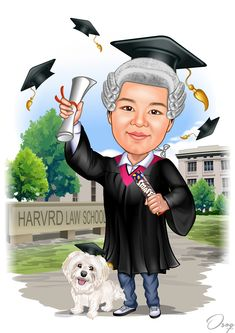 She is on graduation grow with the lawyer hair, and one hand holding a roll of Smarties chocolate and one hand holding the graduation certificate. Her lovely dog is besides her and also wearing the same graduation hat. The background is Harvard Law School.