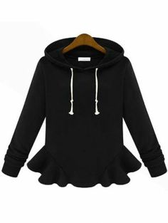 Black Hooded Long Sleeve Ruffle Sweatshirt - Sheinside.com Mobile Site