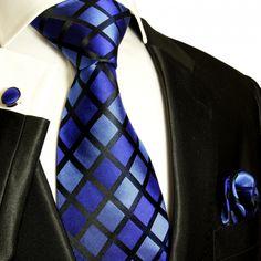 Blue and Black Paul Malone Silk Tie Set (480CH)