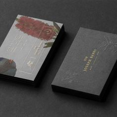 Botanical and gold foil details on this business card and packaging design featuring Australian plants