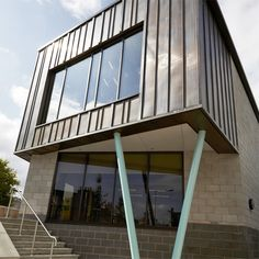 Hwb Dinbych, John McCall Architects. Copper corner protrusion