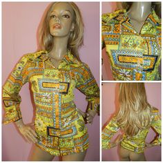 Vintage 1970s Yellow/Multicoloured PSYCHEDELIC retro print shirt blouse 16 L 70s KITSCH Bold by HoneychildLoves on Etsy