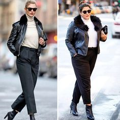 giving us black and white inspo!these are things curvy girls are told to stay away from! I see two bodies, both looking cute and both pulling off the same style! Dress Like Celebrity, Celebrity Outfits, Celebrity Look, Fall Fashion Outfits, Star Fashion, Casual Outfits, Viernes Casual, Look Plus Size, Pleated Pants