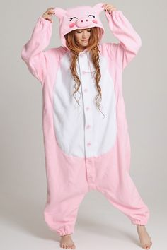I'd so wear these!! Pink Pig Kigurumi Onesie from www.kigurumi.ca