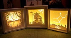 Some great paper cut light boxes.