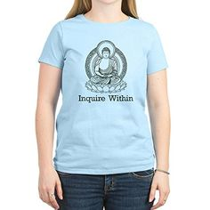 CafePress  Vintage Buddha Inquire Within Womens Light TShir  Womens Cotton TShirt Crew Neck Comfortable  Soft Classic Tee ** Check out this great product.