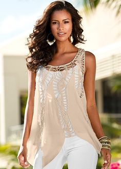 Oatmeal Crochet tank from VENUS. Available in sizes XS-XL!