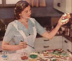 vintage housewife baking cookies