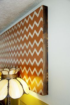 Chevron art piece: perfect for renters who can't paint but desperately need that splash of color on the walls!